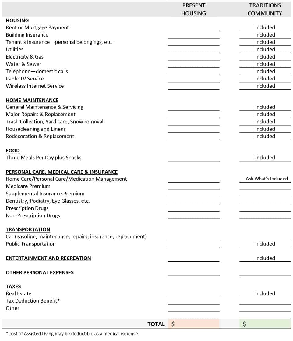 Cost Camparison Worksheet